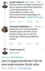 Der Neos Sozialsprecher Gerald Loacker flppte auf Twitter wegen der Einführung der Hacklerregelung aus. Er setzte sich durch denn seine Partei verhinderte mit der ÖVP und der FPÖ, dass die Hacklerregelung schon auf bestehende Pensinisten ausgeweitet wird.