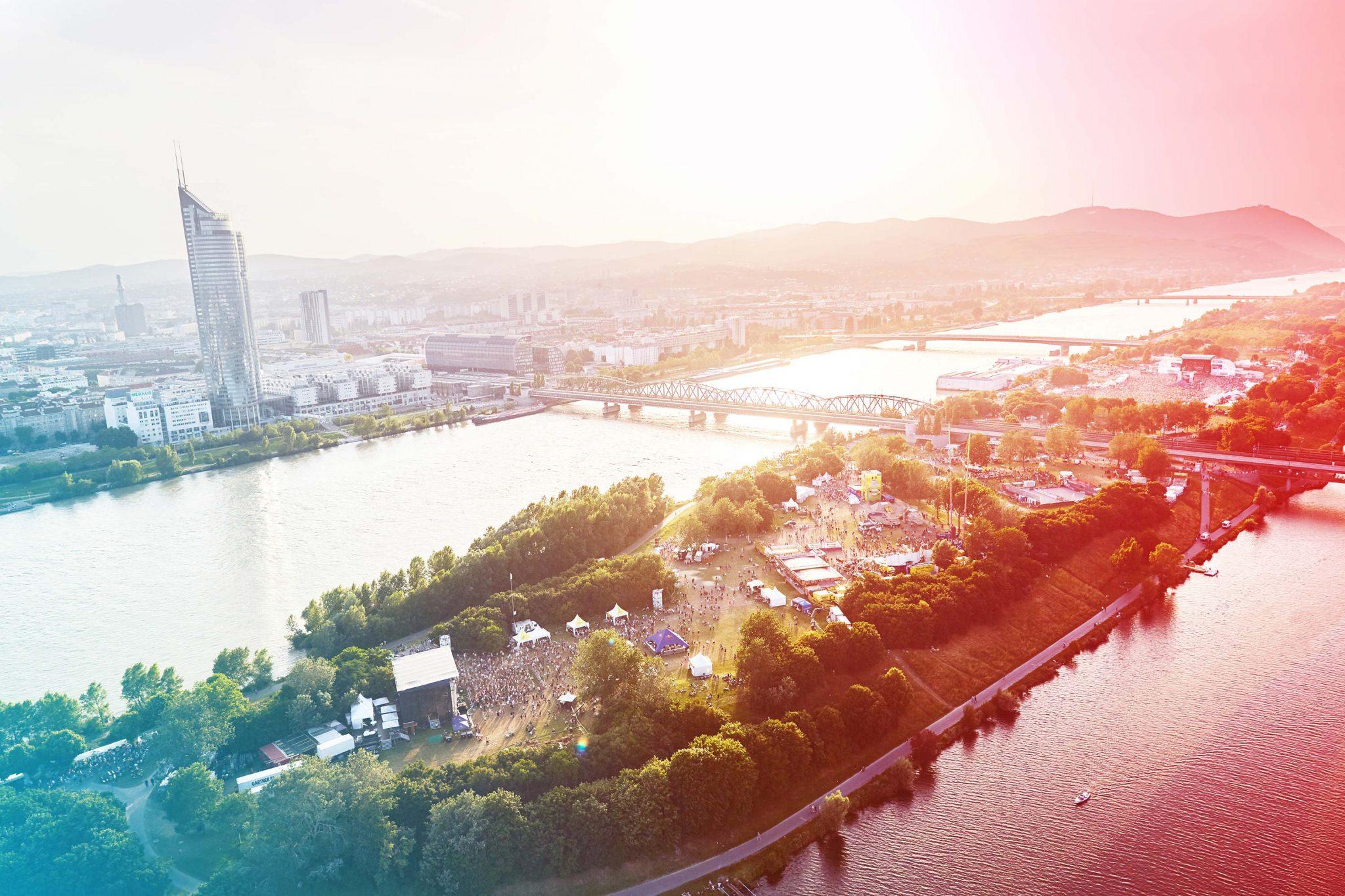 Die Donauinsel ist eine der vielen Grünflächen in Wien. Ein Grund, warum Wien laut Economist so lebenswert ist.