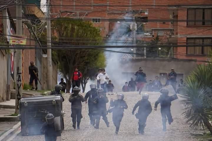 Sie fordern eine andere Politik in Bolivien: Evo Morales Anhänger