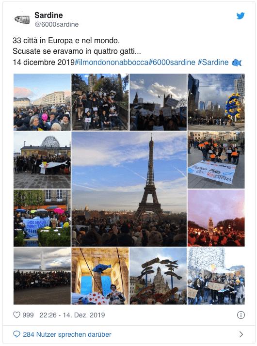 Ein Tweet der Sardinen-Bewegung: Menschen demonstrieren vor dem Eiffelturm in Paris gegen Salvini.
