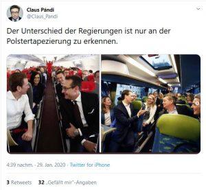 Bei der Regierungsklausur in Krems wird die Steuerreform 2020 besprochen. Nicht nur die Inszenierung ähnelt dabei der Vorgängerregierung - das Bild zeigt einen Tweet des Krone Journalisten Claus Pandi zu dem Thema.