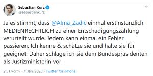 Sebastian Kurz wiederholte die FPÖ Vorwürfe gegen Alma Zadic im Ö1 Morgenjournal. DasBild zeigt die Reaktion von Sebastian Kurz auf Twitter.