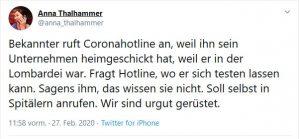 Der Corona-Virus sorgt auch auf Twitter für Diskussionen - als Beispiel hier ein Screenshot von von einem Tweet von der Presse Journalistin Anna Thalhammer. Pamela Rendiä-Wagner warnte schon 2018 vor den negativen Konsequenzen der Streichung der Generaldirektorin für öffentliche Gesundheit.