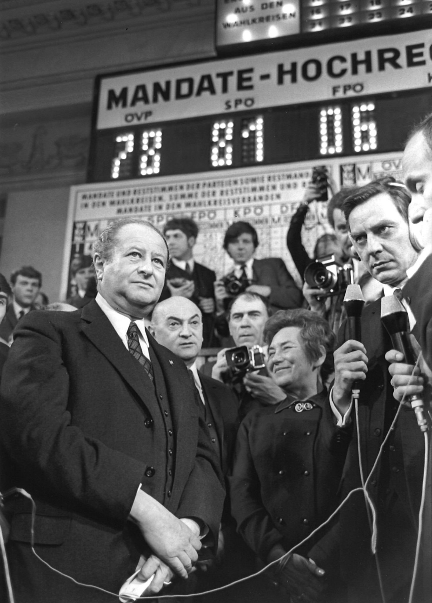 Bruno Kreisky in der Wahlnacht 1970