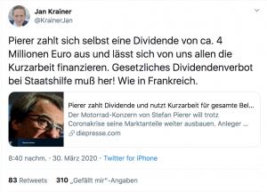 Bild zeigt einen Tweet vom Finanzsprecher der SPÖ Jan Krainer, der fordert: Dividenden sollen wie in Frankreich für Unternehmen verboten werden, die Staatshilfe erhalten. KTM schüttet eine hohe Dividende aus, obwohl es seine Mitarbeiter auf Kurzarbeit schickt.