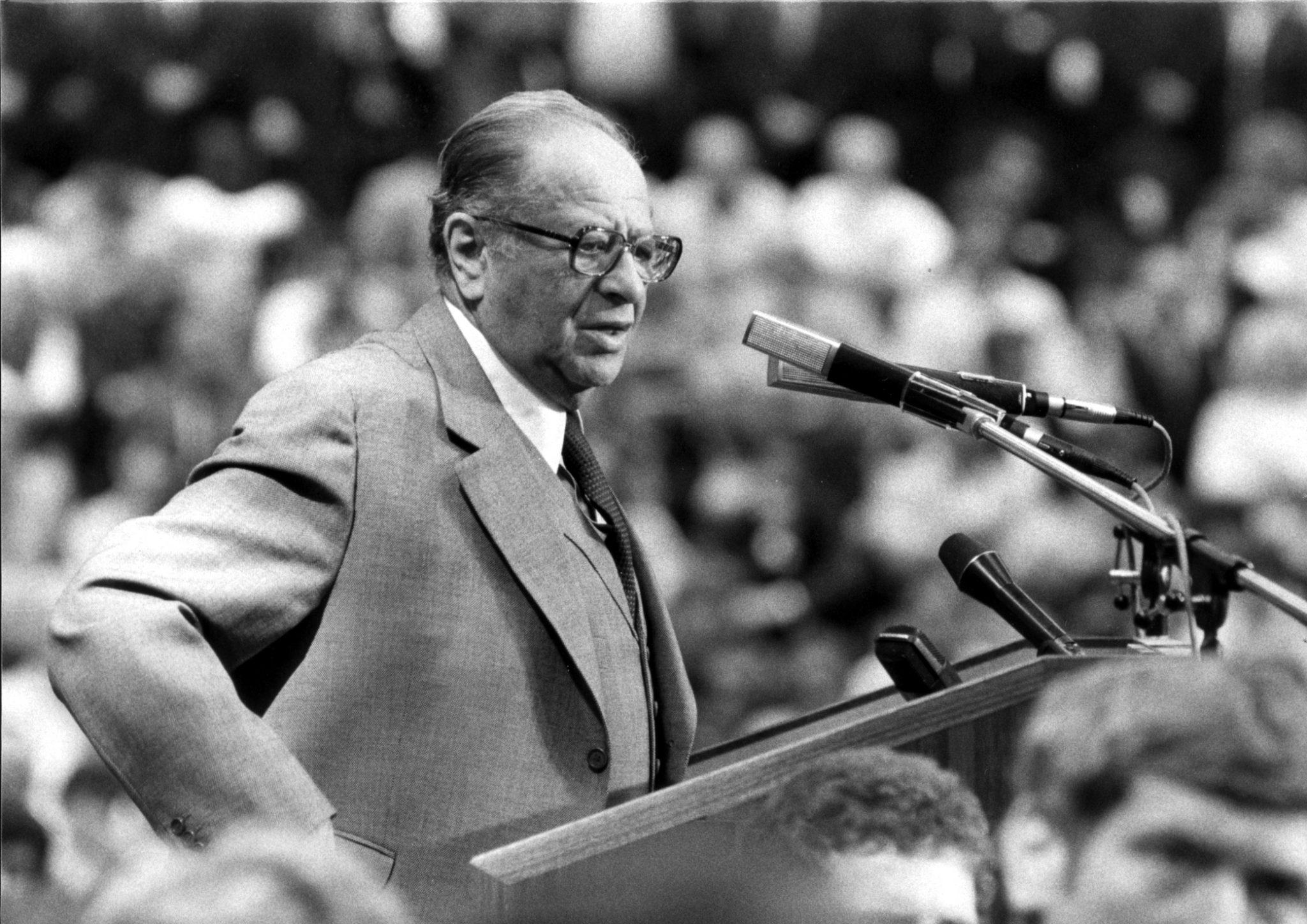 Bruno Kreisky, SPÖ-Vorsitzender und Bundeskanzler, im Wahlkampf für die Nationalratswahl 1983