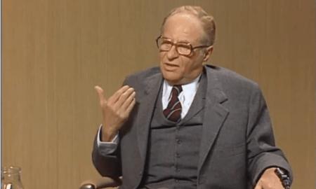 Bundeskanzler Bruno Kreisky in einer ORF Diskussionsrunde vor der Nationalratswahl 1983 kontert Alois Mock.