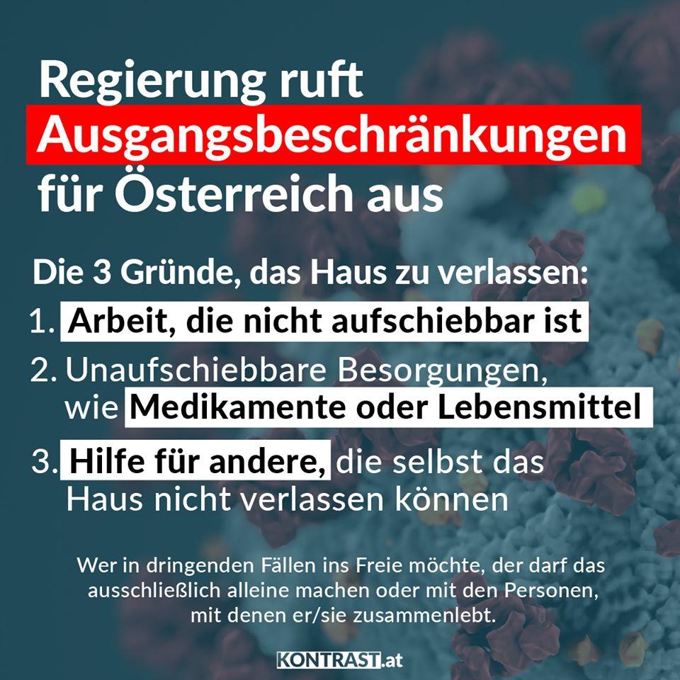 Coronavirus: Ausgangsbeshcränkungen in Österreich