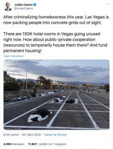 In London und Düsseldorf kommen Obdachlose ins Hotel in Las Vegas müssen sie auf dem Parkplatz schlafen - trotz Corona Krise