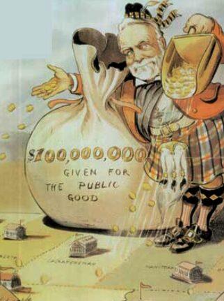 Karikatur des Amerikanischen Philanthropen Andrew Carnegie. 1903