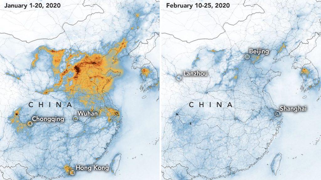 Von Jänner auf Februar haben sich die Treibhausgase in der Atmosphäre über China drastisch reduziert.