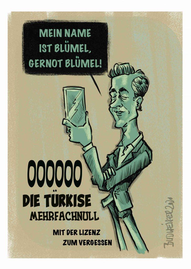 Budweiser-Cartoon zu Blümel im U-Ausschuss und 86 x keine Erinnerung