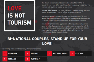 Corona Einreise EU Drittstaaten #Loveisnottourism Kampagne