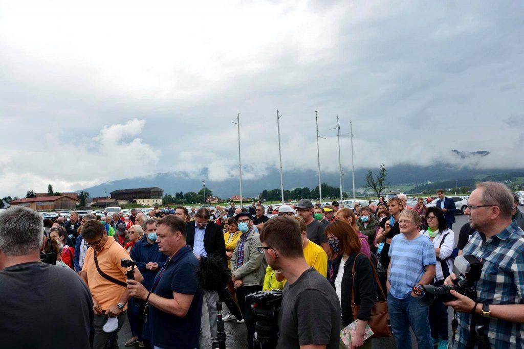 Protest gegen Kündigungen bei ATB in Spielberg.