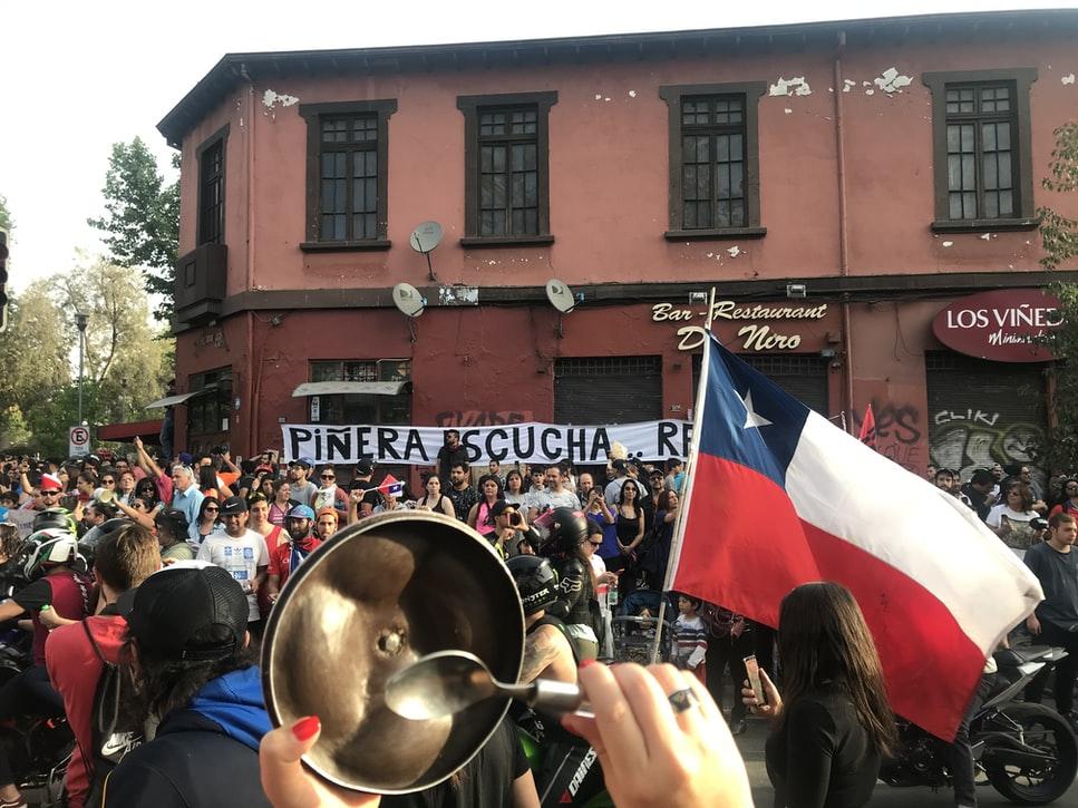 Proteste in Ñuñoa, Chile für die neue Verfassung, Referendum 2020 gegen Pinochet Verfassung