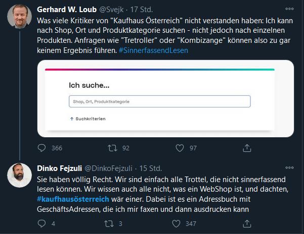 Dinko Fejzuli on Gerhard Loub - Kaufhaus Österreich
