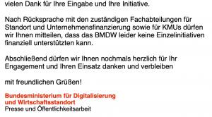 Ablehnung des Ministeriums für Digitalisierung und Wirtschaftsstandort