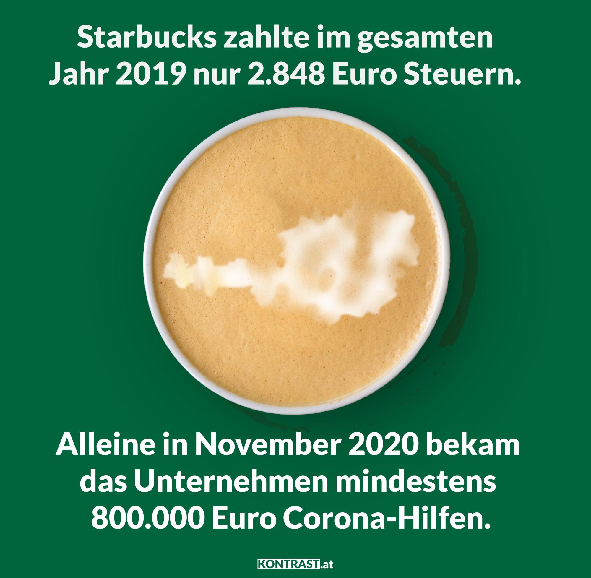 alle corona-massnahmen und fehler in österreich: Starbucks Steuern Corona-Hilfe