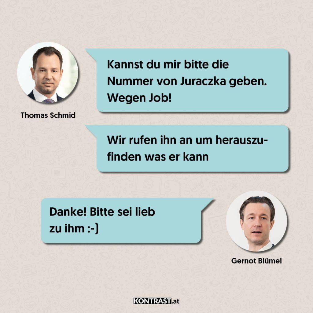 Thomas Schmid Chats: Schmid fragt Gernot Blümel nach den Qualifikationen von dem ehemaligen ÖVP-Wien Obmann Juraczka