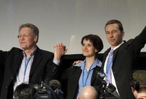 Lars Feld IHS Chef; Konrad Adam, Frauke Petry und Bernd Lucke beim Gründungsparteitag der AfD 2013 in Berlin