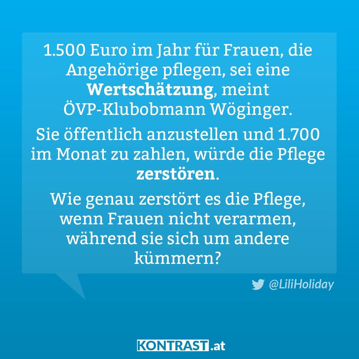 ÖVP & Wertschätzung der Pflege