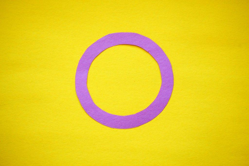 Eine gelbe Fahne mit einem leeren, violetten Kreis in der Mitte stellt die Intersex-Flag dar.