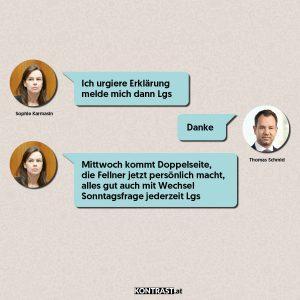 Chat-Protokoll Thomas Schmid u Sophie Karmasin - ÖVP-Hausdurchsuchung